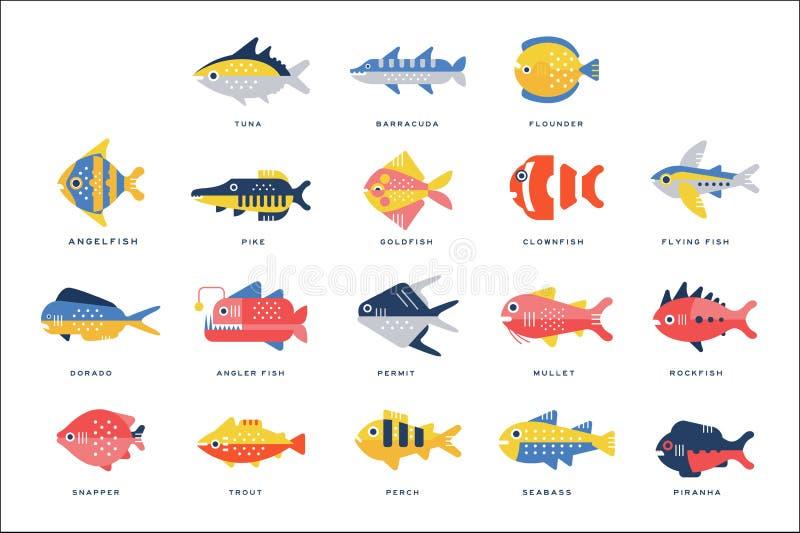 Η συλλογή της θάλασσας και ο ποταμός αλιεύουν και εγγραφής όνομα στις αγγλικές διανυσματικές απεικονίσεις ελεύθερη απεικόνιση δικαιώματος