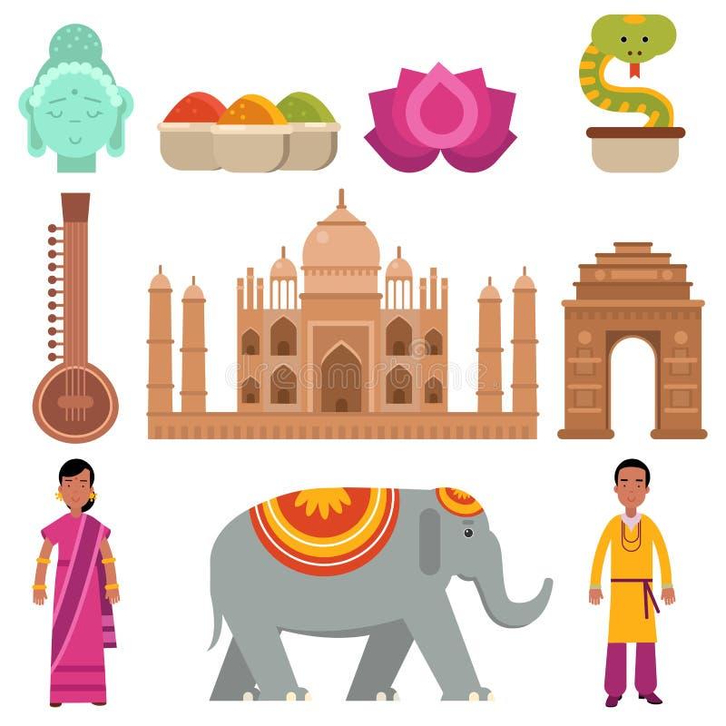 Η συλλογή της Ινδίας έθεσε με τα παραδοσιακά σύμβολα της χώρας, ταξίδι στην Ινδία, σημάδια του παραδοσιακού ινδικού διανύσματος π απεικόνιση αποθεμάτων
