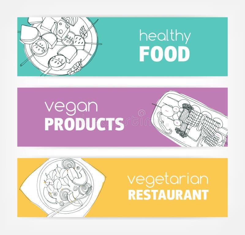 Η συλλογή των οριζόντιων προτύπων εμβλημάτων με τα μονοχρωματικά vegan τρόφιμα δίνει επισυμένος την προσοχή στο φωτεινό χρωματισμ διανυσματική απεικόνιση