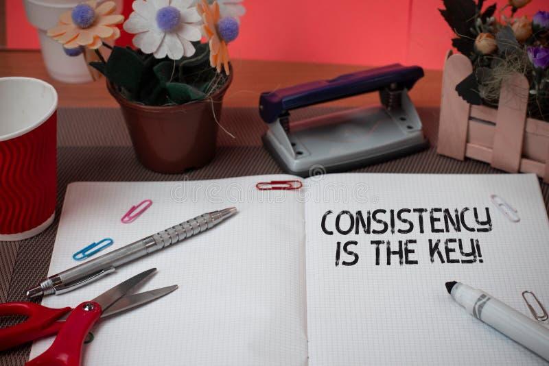 Η συνέπεια κειμένων γραψίματος λέξης είναι το κλειδί Επιχειρησιακή έννοια για με το σπάσιμο των κακών συνηθειών και τη διαμόρφωση στοκ φωτογραφίες