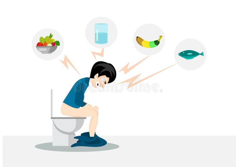 Η συνεδρίαση ατόμων σε μια δυσκοιλιότητα τουαλετών με τα εικονίδια αλιεύει, ποτίζει, έννοια λαχανικών και μπανανών απεικόνιση αποθεμάτων