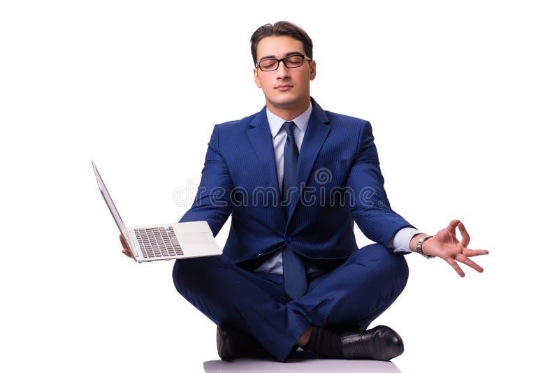 Η συνεδρίαση επιχειρηματιών στο πάτωμα που απομονώνεται στο λευκό στοκ φωτογραφίες με δικαίωμα ελεύθερης χρήσης
