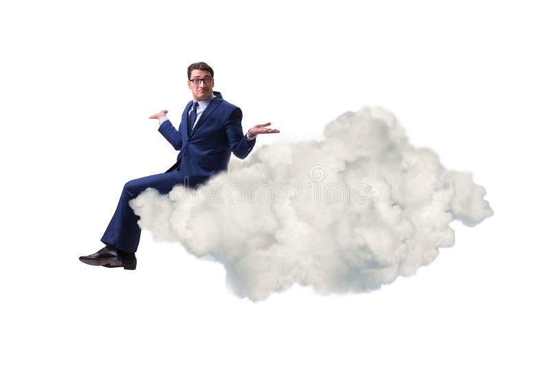 Η συνεδρίαση επιχειρηματιών στο σύννεφο στην έννοια motivitation στοκ φωτογραφίες