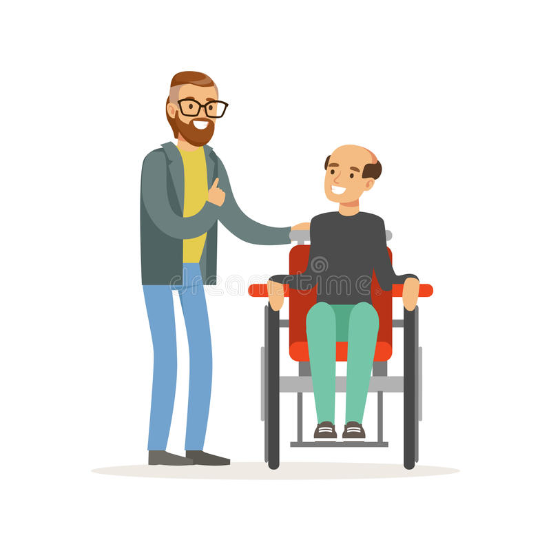 Η συνεδρίαση των φίλων, δύο άτομα που μιλούν, ένας καθιστούσε ανίκανη τη συνεδρίαση ατόμων σε μια αναπηρική καρέκλα, μια βοήθεια  απεικόνιση αποθεμάτων