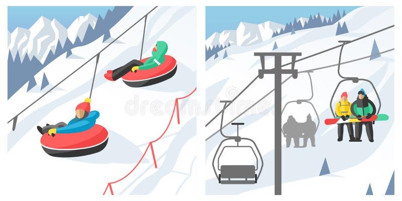 Η συνεδρίαση Snowboarder στους ανθρώπους σνόουμπορντ θερέτρου χειμερινού αθλητισμού ανελκυστήρων γονδολών και ανελκυστήρων σκι στ διανυσματική απεικόνιση