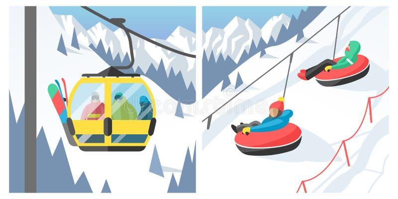 Η συνεδρίαση Snowboarder στους ανθρώπους σνόουμπορντ θερέτρου χειμερινού αθλητισμού ανελκυστήρων γονδολών και ανελκυστήρων σκι στ ελεύθερη απεικόνιση δικαιώματος