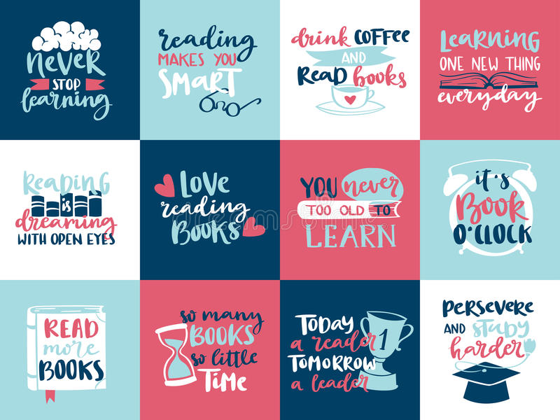 Η συρμένη χέρι εγγραφή κινήτρου ανάγνωσης αγάπης έννοιας φαντασίας αναφέρει το διανυσματικό σχέδιο προτύπων απεικόνισης βιβλίων ι ελεύθερη απεικόνιση δικαιώματος