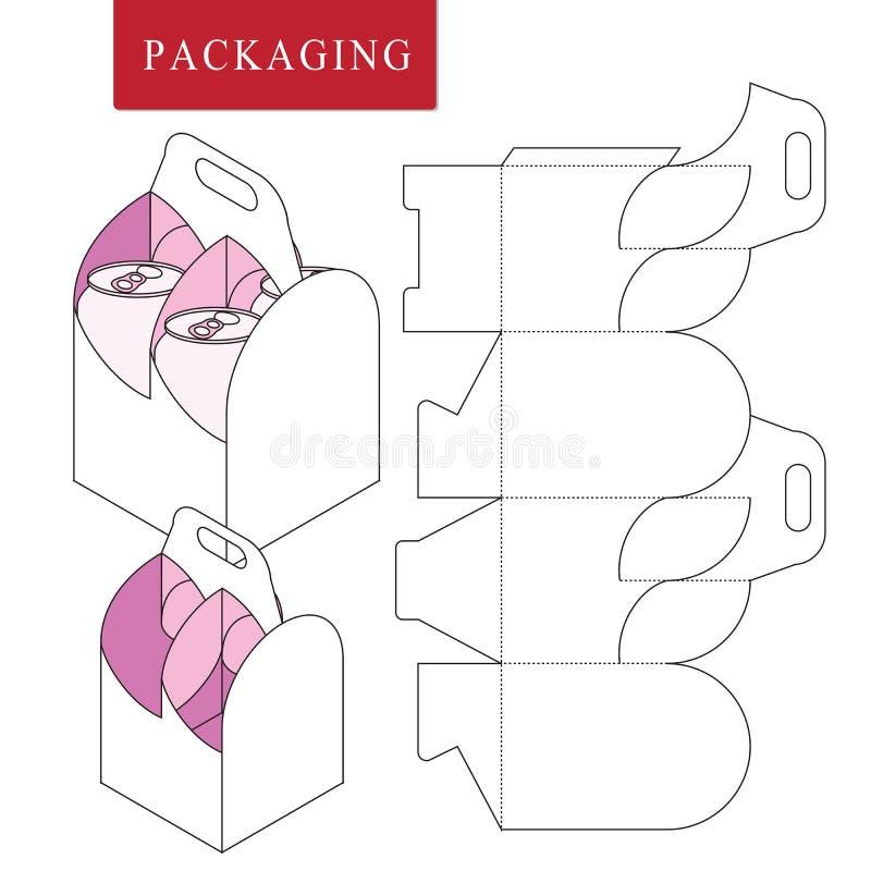 Η συσκευασία για μπορεί να εμφιαλώσει Απομονωμένη άσπρη λιανική χλεύη επάνω Διανυσματική απεικόνιση του κιβωτίου απεικόνιση αποθεμάτων