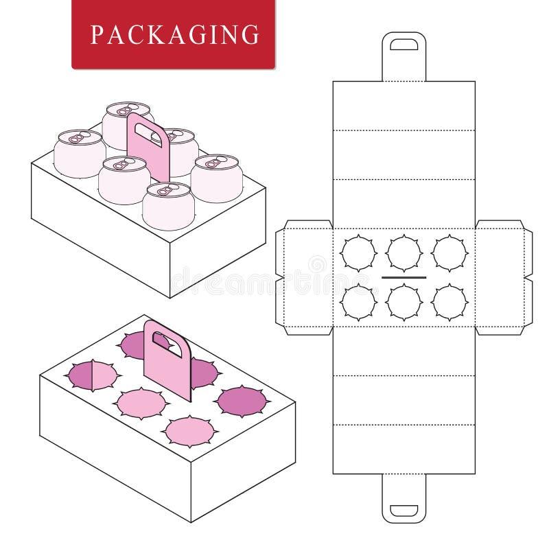 Η συσκευασία για μπορεί να εμφιαλώσει Απομονωμένη άσπρη λιανική χλεύη επάνω Διανυσματική απεικόνιση του κιβωτίου ελεύθερη απεικόνιση δικαιώματος