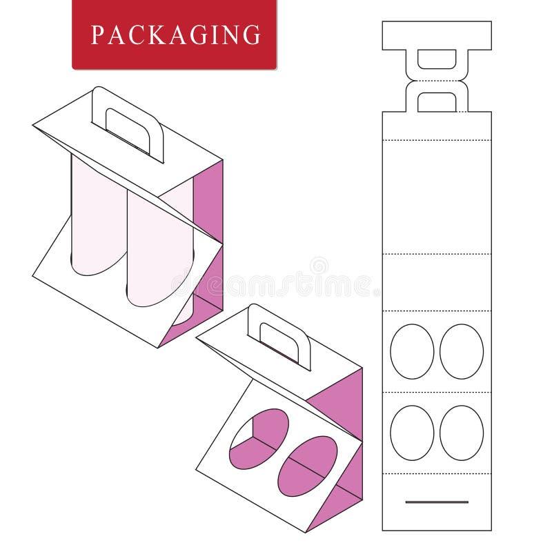 Η συσκευασία για μπορεί να εμφιαλώσει Απομονωμένη άσπρη λιανική χλεύη επάνω Διανυσματική απεικόνιση του κιβωτίου διανυσματική απεικόνιση
