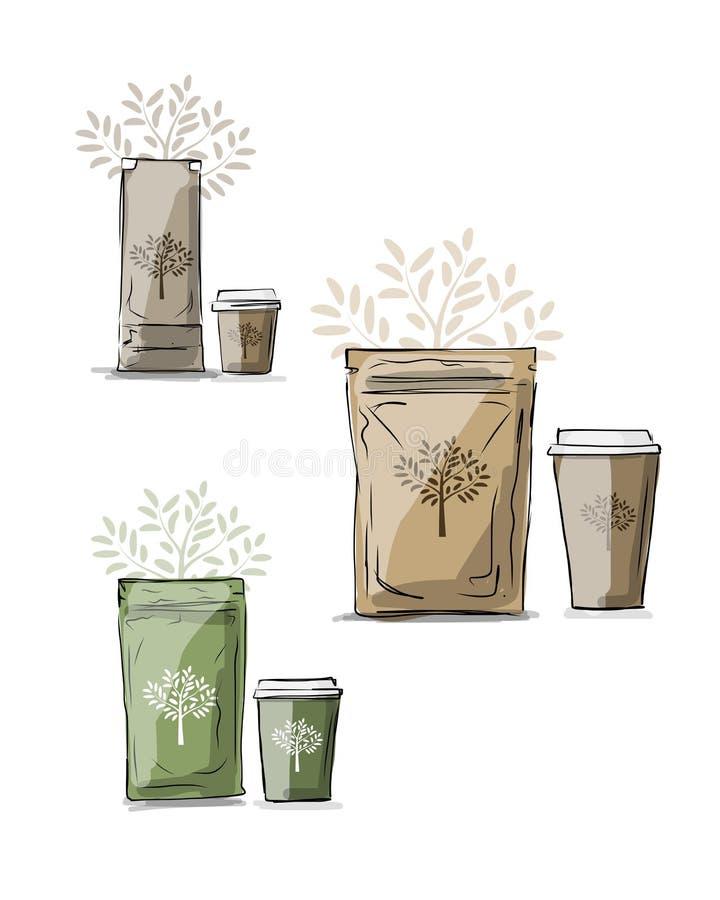 Η συσκευασία τσαντών και παίρνει μαζί το φλυτζάνι καφέ διανυσματική απεικόνιση