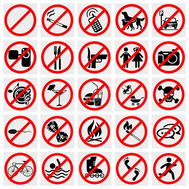 Κανένα σημάδι στάσεων. Απαγόρευση του καπνίσματος, κανένα σκυλί ή Pets.Set PROHI απεικόνιση αποθεμάτων