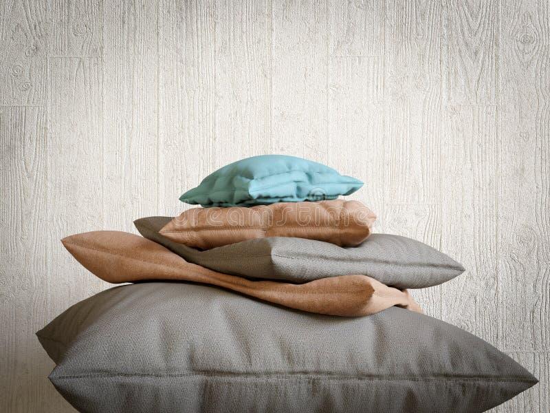 Η συλλογή μαξιλαριών ως αιχμή βουνών χαλαρώνει και ανακουφίζει τη φωτογραφία σύνθεσης έννοιας στοκ εικόνες