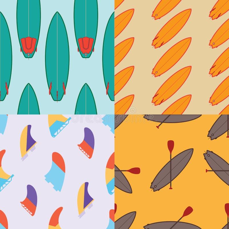 Η συλλογή τεσσάρων χρωματίζει τα άνευ ραφής σχέδια σερφ ελεύθερη απεικόνιση δικαιώματος