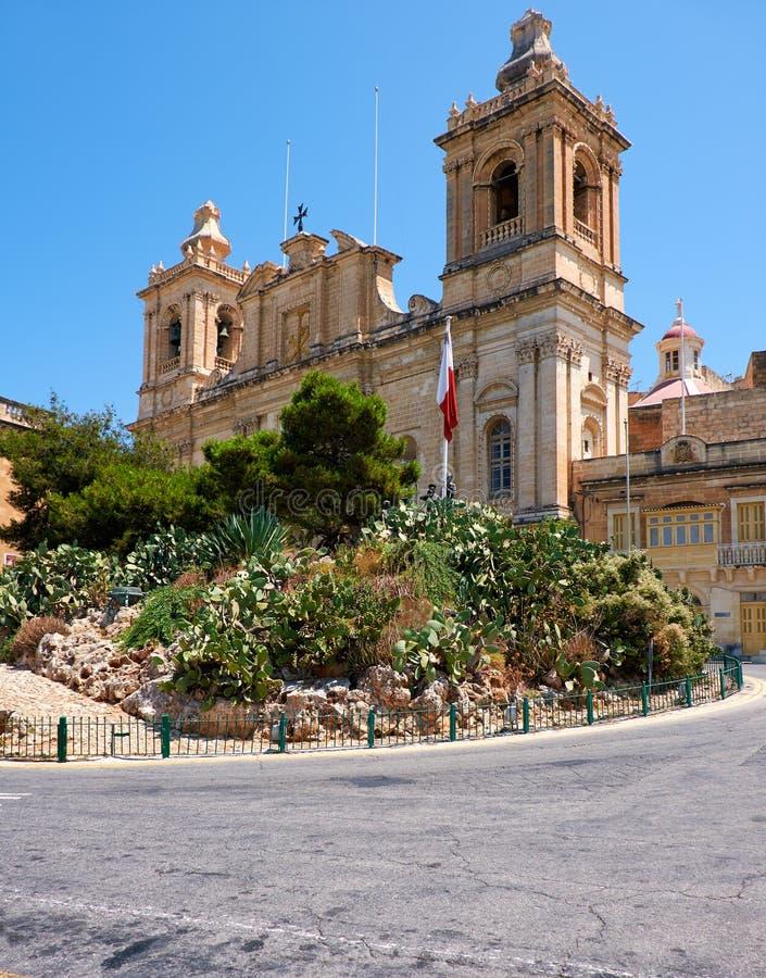 Η συλλογική εκκλησία του ST Lawrence σε Birgu, Μάλτα στοκ φωτογραφία