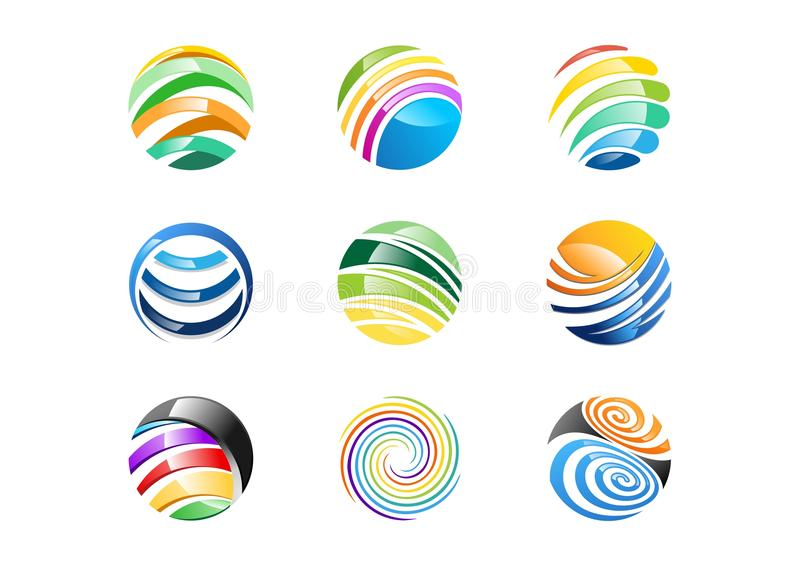 Η σφαίρα, κύκλος, λογότυπο, αφαιρεί τη σφαιρική επιχειρησιακή επιχείρηση στοιχείων, άπειρο, σύνολο στρογγυλού διανυσματικού σχεδί ελεύθερη απεικόνιση δικαιώματος
