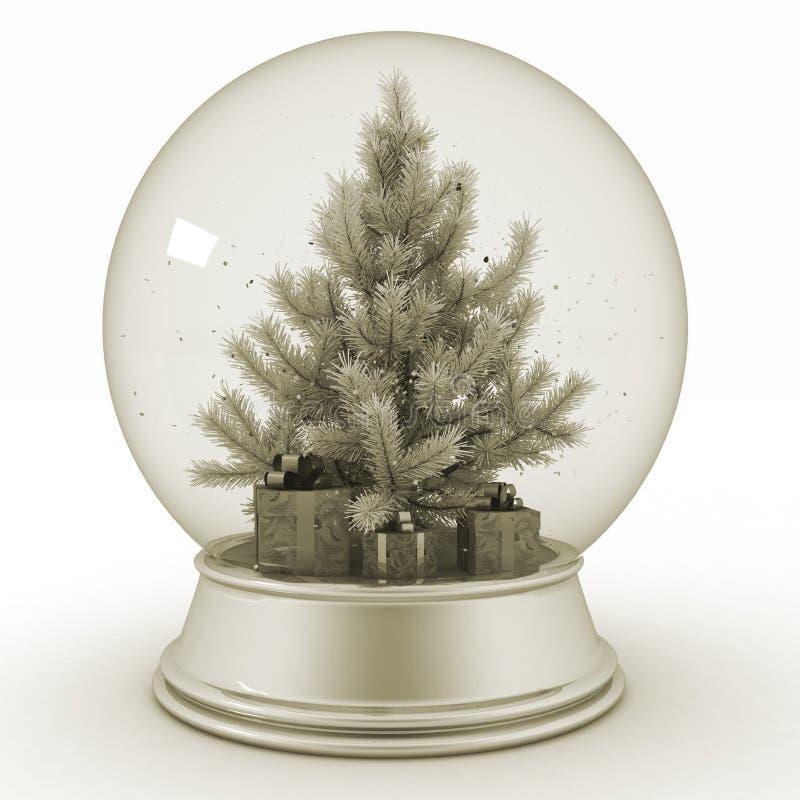 Η σφαίρα χιονιού με το χριστουγεννιάτικο δέντρο και παρουσιάζει διανυσματική απεικόνιση