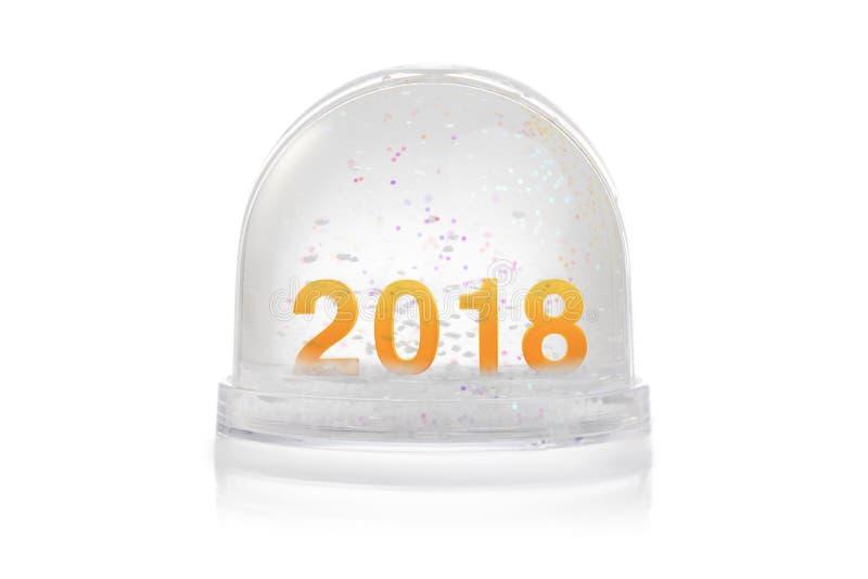 Η σφαίρα χιονιού Χριστουγέννων με ακτινοβολεί φω'τα Καλή χρονιά 2018 στοκ φωτογραφία