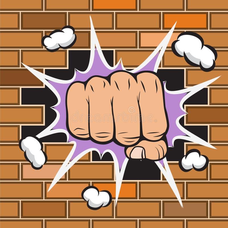 Η σφιγγμένη πυγμή χτύπησε το έμβλημα τοίχων ελεύθερη απεικόνιση δικαιώματος