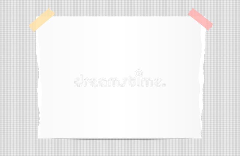 Η σχισμένη άσπρη σημείωση, σημειωματάριο, copybook έγγραφο κόλλησε με την κολλώδη ταινία στο τακτοποιημένο υπόβαθρο διανυσματική απεικόνιση
