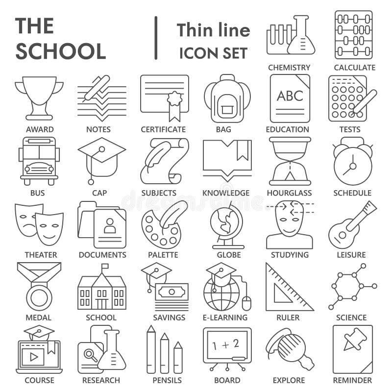 Η σχολική λεπτή γραμμή ΥΠΕΓΡΑΨΕ το σύνολο εικονιδίων, συλλογή συμβόλων εκπαίδευσης, διανυσματικά σκίτσα, απεικονίσεις λογότυπων,  απεικόνιση αποθεμάτων