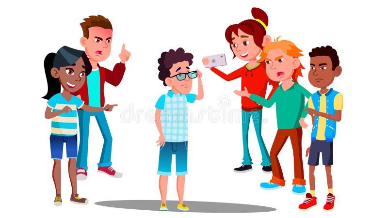 Η σχολική σύγκρουση, λυπημένος έφηβος περιβάλλεται από τους συμμαθητές που γελοιοποιούν τον διανυσματικό απομονωμένη ωθώντας s κο διανυσματική απεικόνιση