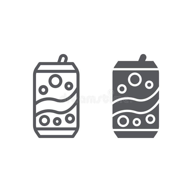 Η σόδα μπορεί να ευθυγραμμίσει και glyph το εικονίδιο, το ποτό και το ποτό, αργίλιο μπορούν να υπογράψουν, διανυσματική γραφική π διανυσματική απεικόνιση