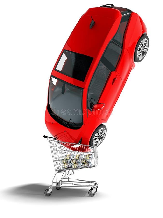 Η σύγχρονη έννοια που πωλεί το κόκκινο ηλεκτρικό αυτοκίνητο σε ένα κάρρο αγορών για τα χρήματα τρισδιάστατα δίνει στο άσπρο υπόβα απεικόνιση αποθεμάτων