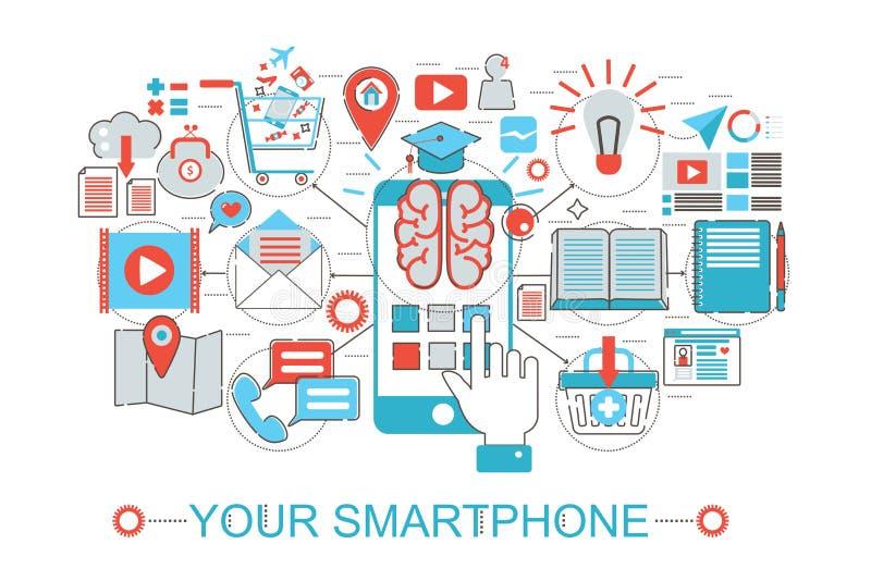 Η σύγχρονη επίπεδη λεπτή γραμμή σχεδιάζει την κινητή τηλεφωνική έννοια Smartphone σας για τον ιστοχώρο εμβλημάτων Ιστού διανυσματική απεικόνιση