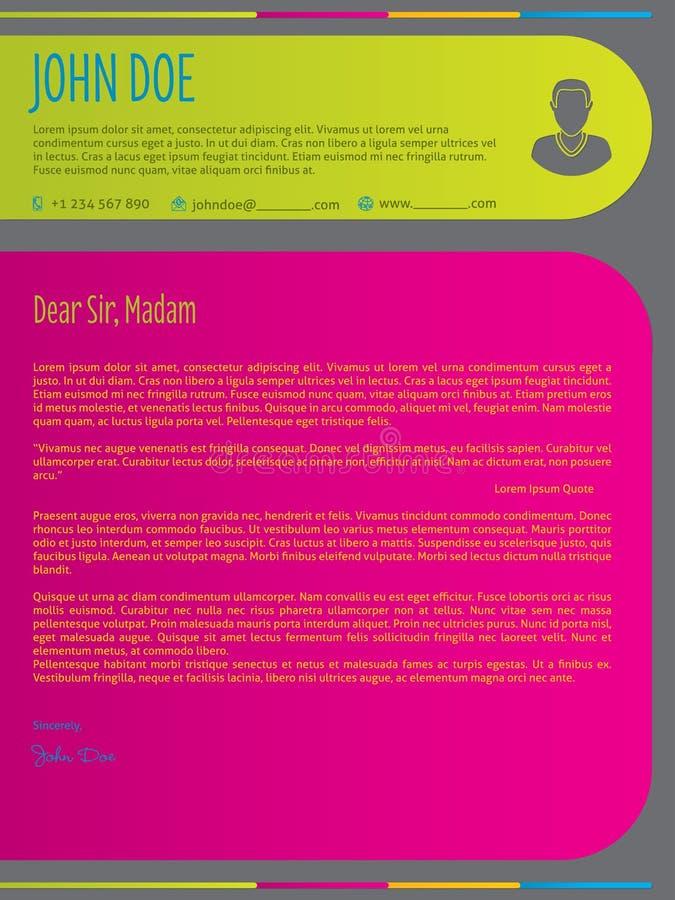 Η σύγχρονη ζωηρόχρωμη συνοδευτική επιστολή επαναλαμβάνει το πρότυπο βιογραφικού σημειώματος ελεύθερη απεικόνιση δικαιώματος