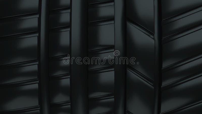 Η σύγχρονη και λαμπρή επιφάνεια ροδών ροδών αυτοκινήτων μαύρη, τρισδιάστατος υπολογιστής απόδοσης παρήγαγε το σκηνικό στοκ εικόνες