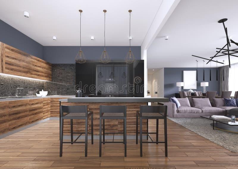Η σύγχρονη κουζίνα με το ξύλο και σχολιάζει τα μαύρα γραφεία κουζινών, νησί κουζινών με τα σκαμνιά φραγμών, countertops πετρών, ε διανυσματική απεικόνιση