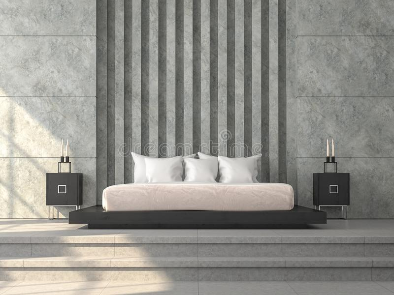 Η σύγχρονη κρεβατοκάμαρα ύφους σοφιτών τρισδιάστατη δίνει, εκεί πάτωμα συγκεκριμένων κεραμιδιών, γυαλισμένος συμπαγής τοίχος απεικόνιση αποθεμάτων