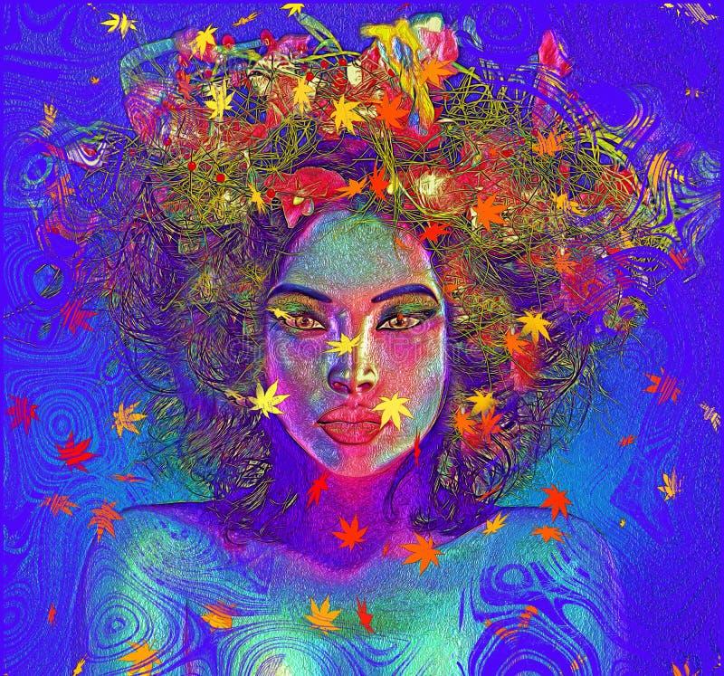 Η σύγχρονη ψηφιακή εικόνα τέχνης του προσώπου μιας γυναίκας, κλείνει επάνω με το ζωηρόχρωμο αφηρημένο υπόβαθρο στοκ εικόνες