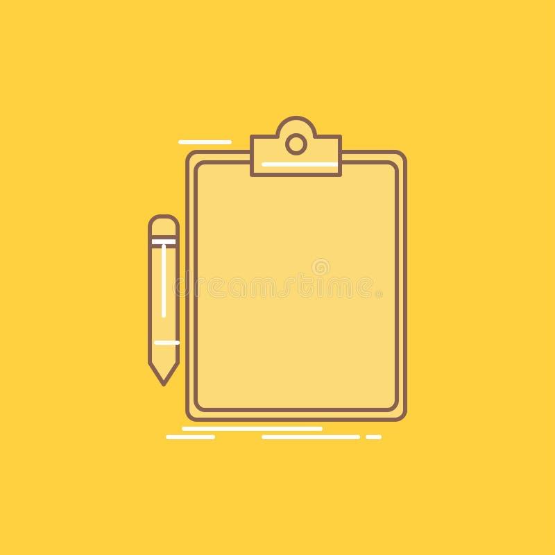 Η σύμβαση, έλεγχος, επιχείρηση, που έγινε το εικονίδιο, επίπεδη γραμμή πινάκων συνδετήρων γέμισε Όμορφο κουμπί λογότυπων πέρα από διανυσματική απεικόνιση