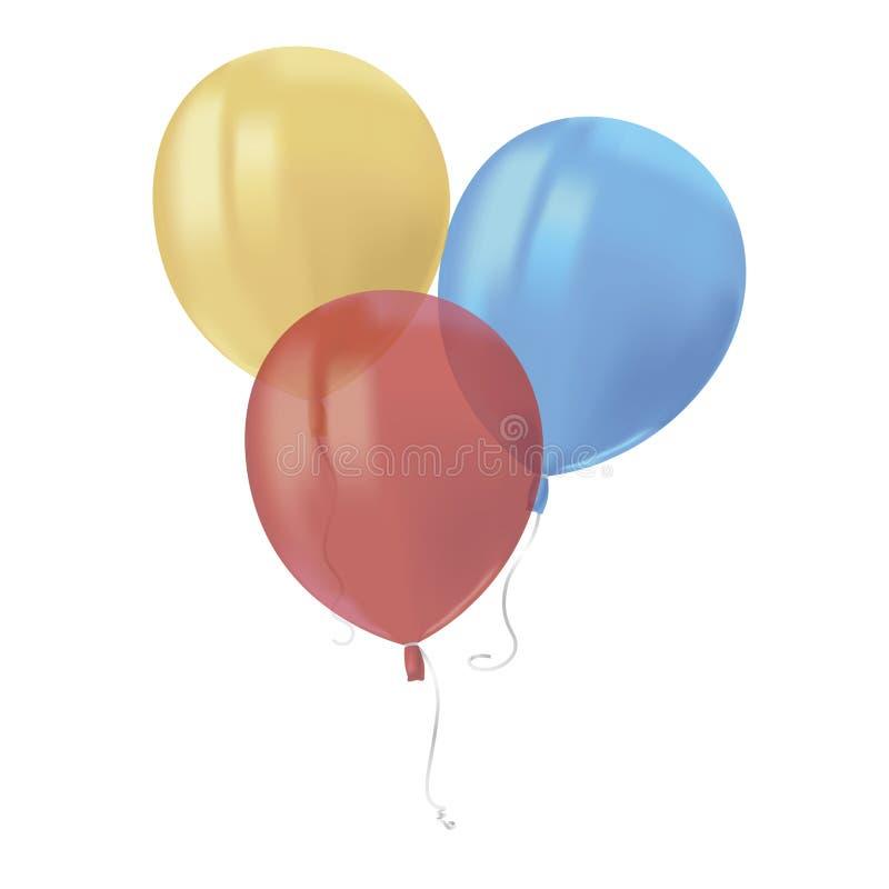 Η σύνθεση του ρεαλιστικού αέρα που πετά τα ζωηρόχρωμα μπαλόνια με απεικονίζει απομονωμένος στο άσπρο υπόβαθρο Εορταστικό στοιχείο απεικόνιση αποθεμάτων