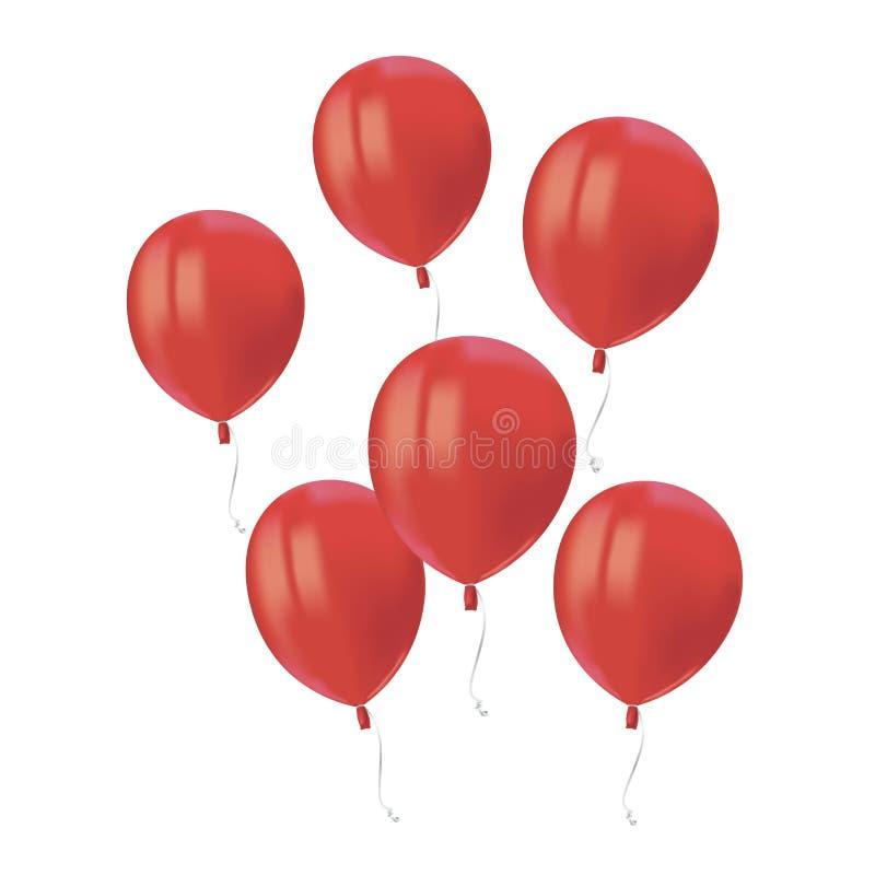 Η σύνθεση του ρεαλιστικού αέρα που πετά τα κόκκινα μπαλόνια με απεικονίζει απομονωμένος στο άσπρο υπόβαθρο Εορταστικό στοιχείο ντ απεικόνιση αποθεμάτων