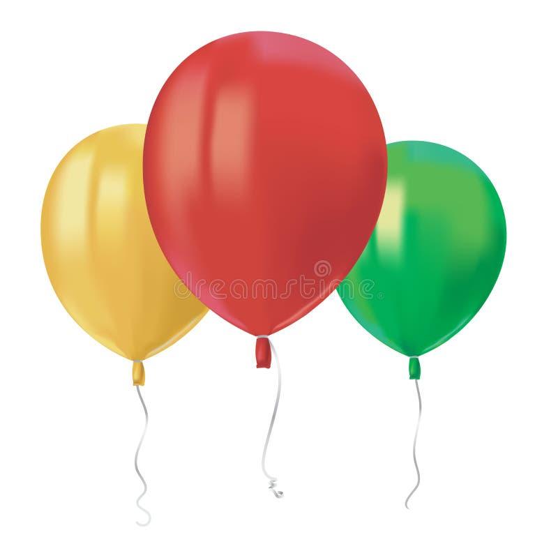 Η σύνθεση του ρεαλιστικού αέρα που πετά τα κόκκινα μπαλόνια με απεικονίζει απομονωμένος στο άσπρο υπόβαθρο Εορταστικό στοιχείο ντ ελεύθερη απεικόνιση δικαιώματος