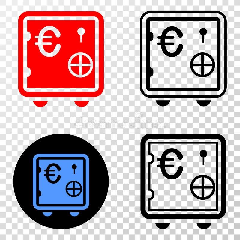 Η σύνθεση Gradiented διέστιξε το ευρο- τραπεζικό χρηματοκιβώτιο και το γραμματόσημο Grunged απεικόνιση αποθεμάτων