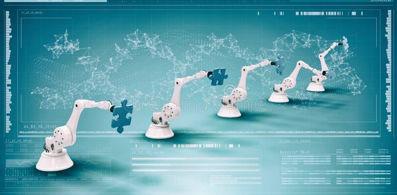Η σύνθετη εικόνα της σύνθετης εικόνας των σύγχρονων ρομπότ με το τορνευτικό πριόνι μπερδεύει τρισδιάστατο στοκ εικόνες