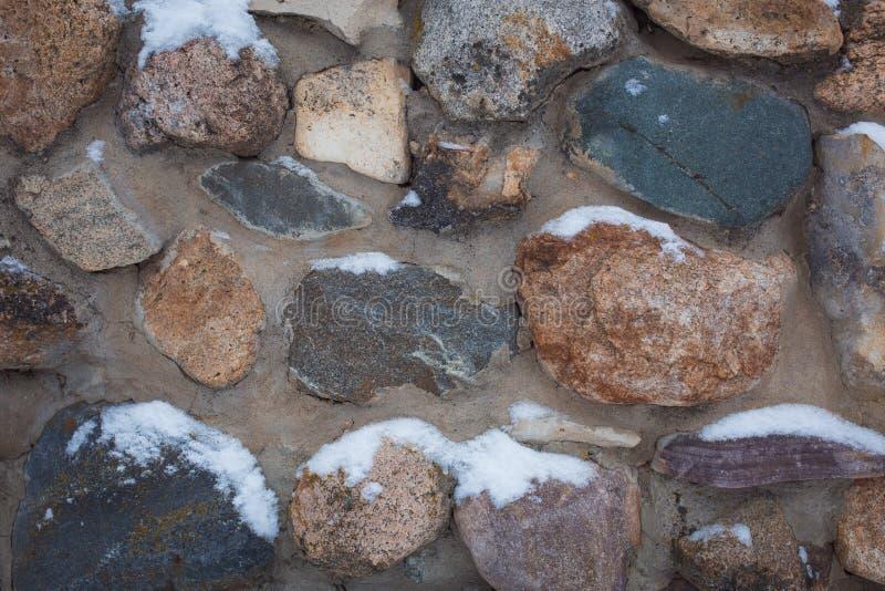 Η σύσταση είναι γκρίζα με έναν κόκκινο τοίχο πετρών με τις μεγάλες πέτρες, που καλύπτονται με το χιόνι στοκ εικόνες