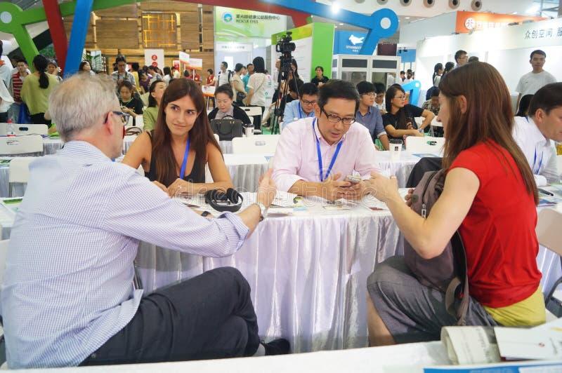 Η τέταρτη σύνοδος της έκθεσης ανταλλαγής προγράμματος φιλανθρωπίας της Κίνας στο κέντρο Συνθηκών και έκθεσης Shenzhen στοκ εικόνα με δικαίωμα ελεύθερης χρήσης