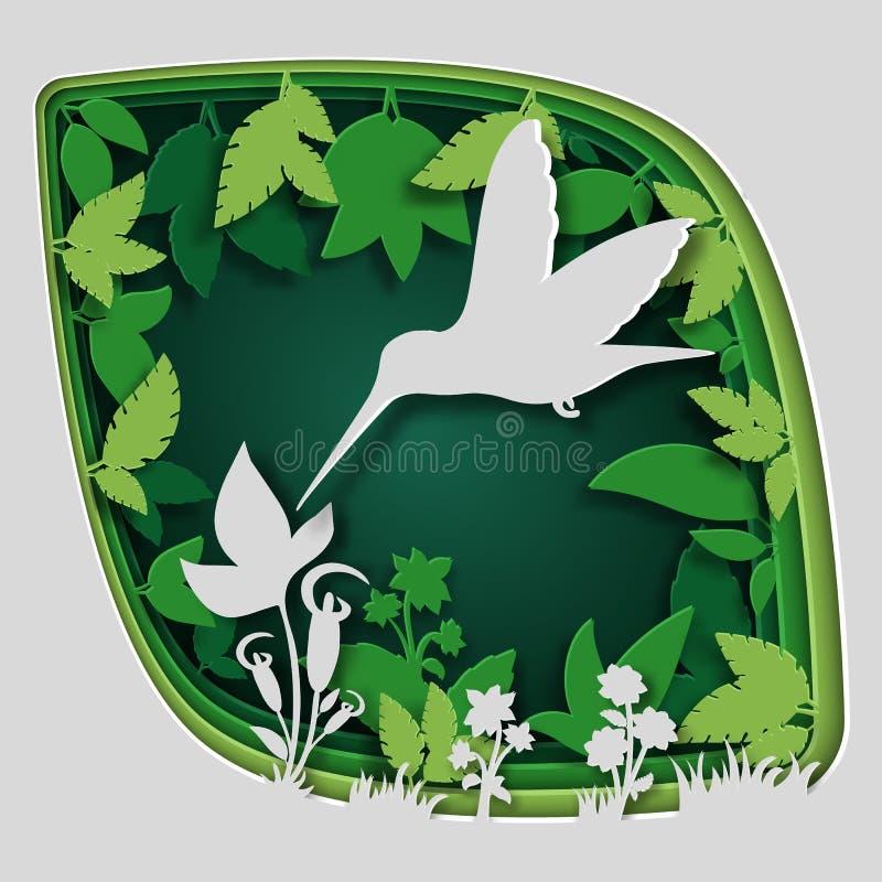 Η τέχνη εγγράφου χαράζει στο πουλί στον κλάδο δέντρων στο δάσος τη νύχτα, φύση έννοιας origami διανυσματική απεικόνιση