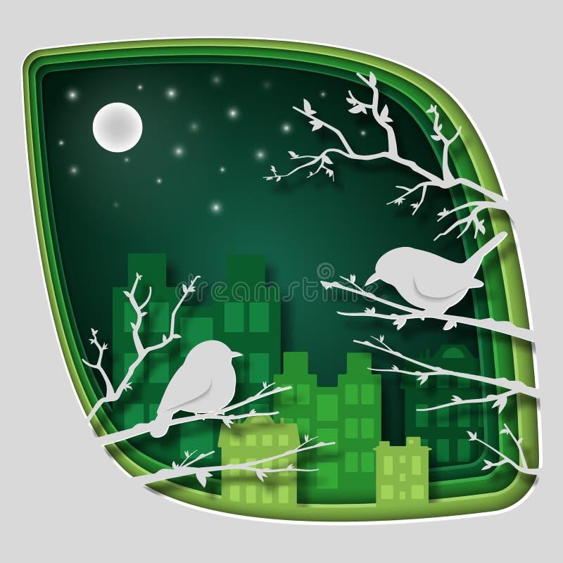 Η τέχνη εγγράφου χαράζει στο πουλί στον κλάδο δέντρων στο δάσος τη νύχτα, τη φύση έννοιας origami και την ιδέα ζώων, διανυσματική απεικόνιση αποθεμάτων