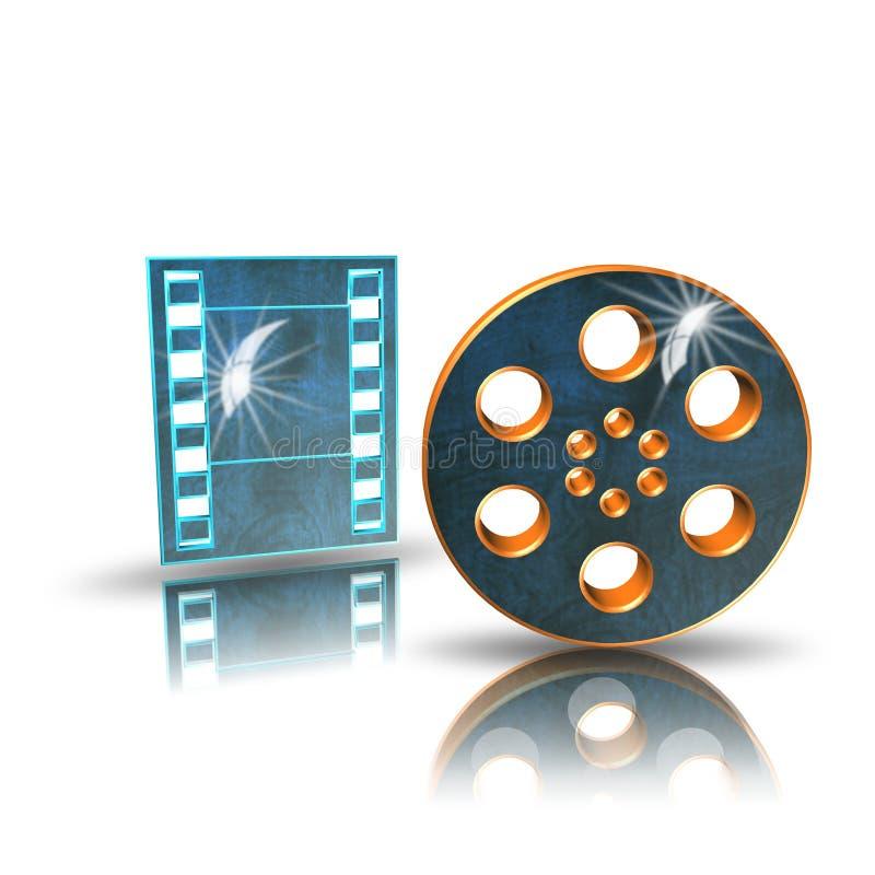 Η ταινία κινηματογράφων, εικονίδιο, τραγουδά, τρισδιάστατη απεικόνιση απεικόνιση αποθεμάτων