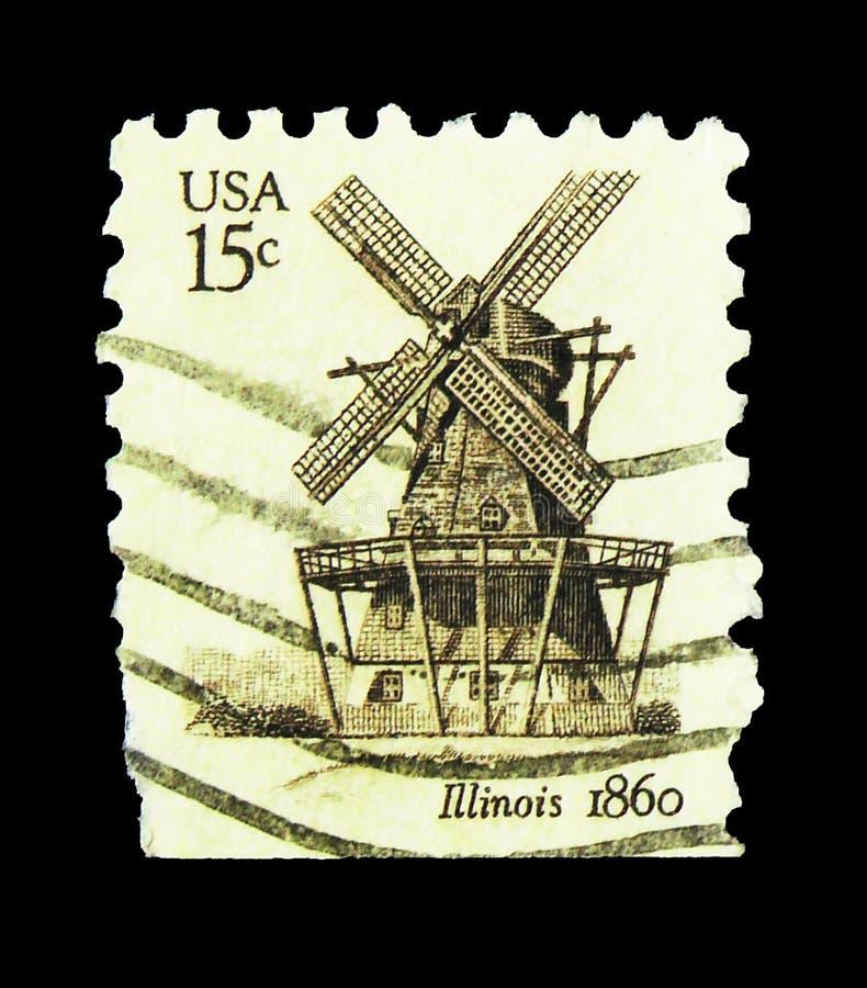 Η ταχυδρομική σφραγίδα που τυπώθηκε στις Ηνωμένες Πολιτείες δείχνει τους ανεμόμυλους: Illinois 1860, 15 ¢ - Λεπτά/σεντ, σειρά, πε στοκ φωτογραφία