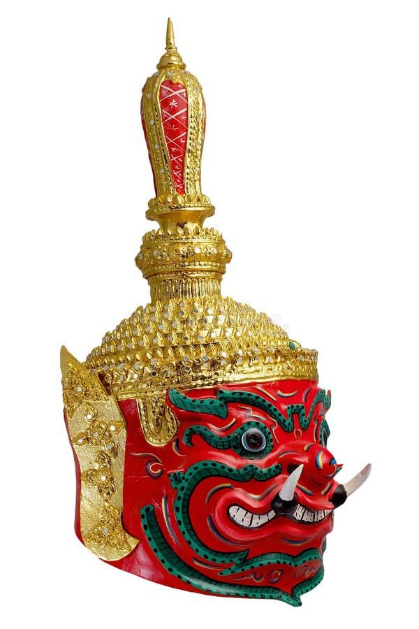 Η ταϊλανδική κόκκινη γιγαντιαία μάσκα khon κάλεσε τη Thao wastsuwan, γιγαντιαίο επικεφαλής adloussopy διευθυνμένου γιγαντιαίου Ra στοκ εικόνες