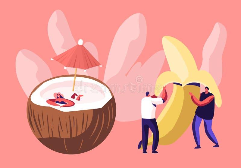 Η τεράστια ξεφλουδισμένη μπανάνα εκμετάλλευσης νεαρών άνδρων, γυναίκα κολυμπά μέσα τη χαλάρωση κοστουμιών στην καρύδα με την ομπρ διανυσματική απεικόνιση