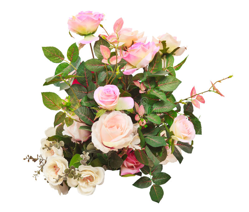 Η τεχνητή ανθοδέσμη λουλουδιών τριαντάφυλλων απομόνωσε την άσπρη χρήση φ υποβάθρου στοκ εικόνα με δικαίωμα ελεύθερης χρήσης
