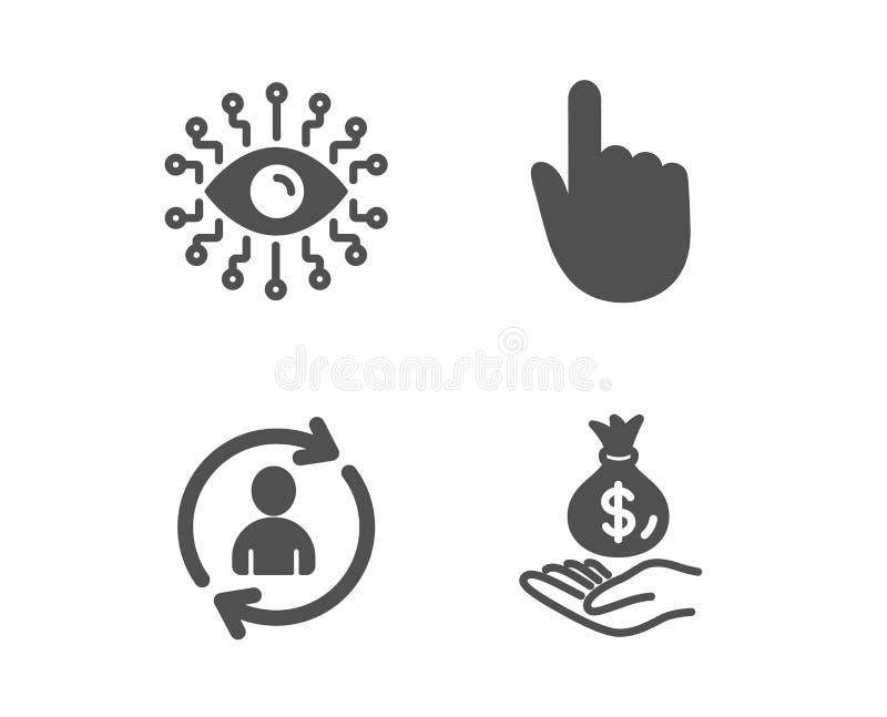 Η τεχνητή νοημοσύνη, οι πληροφορίες προσώπων και το χέρι χτυπούν τα εικονίδια Σημάδι εισοδηματικών χρημάτων r ελεύθερη απεικόνιση δικαιώματος